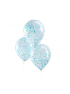 Kirkkaat ilmapallot vaaleansiniset konfetit, 5 kpl.