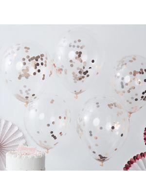 Kirkkaat ilmapallot ruusukultaisilla konfeteilla, 5 kpl.