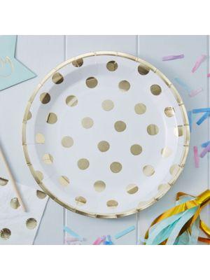 Paperilautaset kultaisilla pilkuilla, 23 cm, 8 kpl.