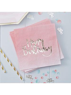 """Vaaleanpunaisetservetit kultaisilla tekstillä """"Happy Birthday"""", 20 kpl."""