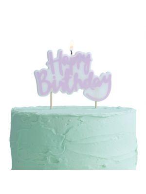"""Kakkukynttilä """"Happy Birthday""""."""
