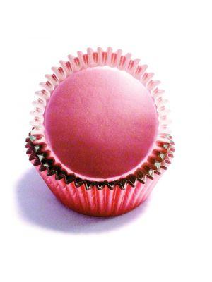 Vaaleanpunaiset metallinhohtoiset foliomuffinivuoat, 30 kpl.