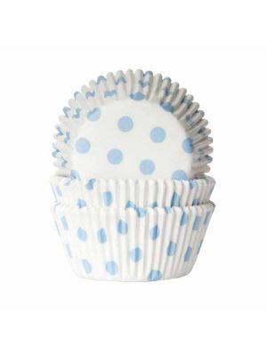 Valkoiset muffinssivuoat vaaleansinisillä pilkuilla, 50 kpl.