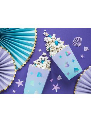 Meriaiheiset popcorn-rasiat Sarvivalas-Narwhal juhlateemasta, sopii myös hienosti merenneito-juhliin!