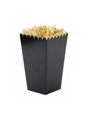 Pienet popcorn-rasiat, mustat kultaisella reunalla, 8 kpl.