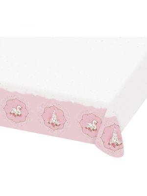 Prinsessa-aiheinen paperinen pöytäliina.