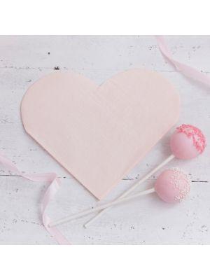 Hennon vaaleanpunaiset sydämenmuotoiset lautasliinat, 16 kpl.