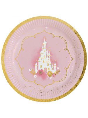 Prinsessa pahvilautaset, linnan kuvalla.