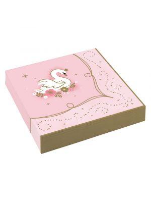 Vaaleanpunaiset servetit joutsen kuvalla prinsessa synttäreihin.