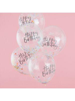 """Konfett-ilmapallot tekstillä """"Happy Birthday"""", 5 kpl."""