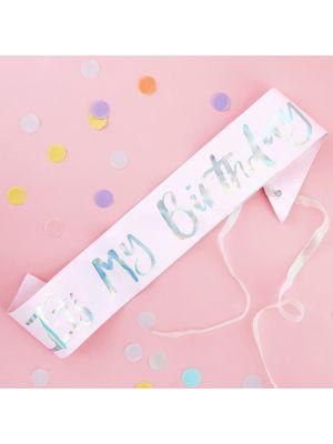 Vaaleanpunainen olkanauha tekstillä It´s My Birthday