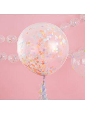 Jätti-ilmapallot pastellinvärisillä konfetilla, 3 kpl.