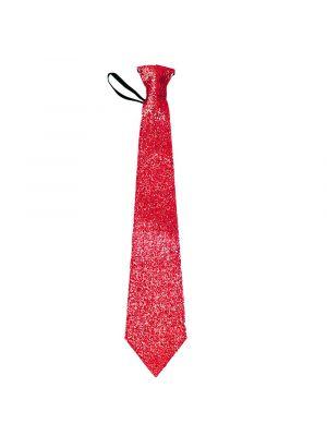 Hauska kravatti rapujuhliin! Valkoinen-glitteri kravatti punaisella ravulla.