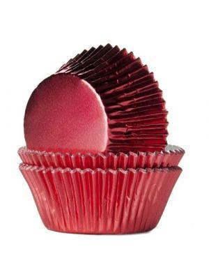 Punaiset säihkyvät folio muffinivuoat, 24 kpl.