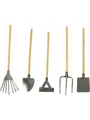 Pienet puutarhatyökalut, 5 kpl, miniatyyri.