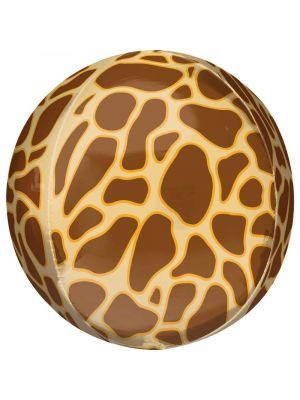 Pyöreä foliopallo kirahvikuviolla, 38 cm.