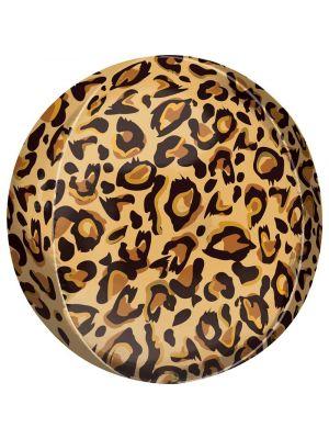 Pyöreä foliopallo leopardikuviolla, 38 cm.