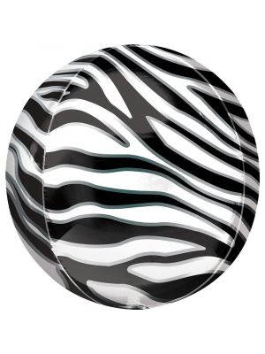 Pyöreä foliopallo seepra kuviolla, 38 cm.