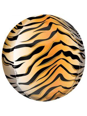 Pyöreä foliopallo tiikerikuviolla, 38 cm.