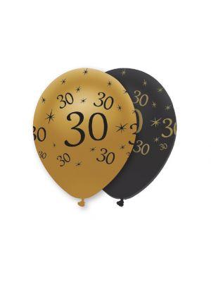 Mustat ja kultaiset ilmapallot numerolla 30.