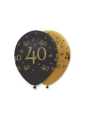 Mustat ja kultaiset ilmapallot numerolla 40.