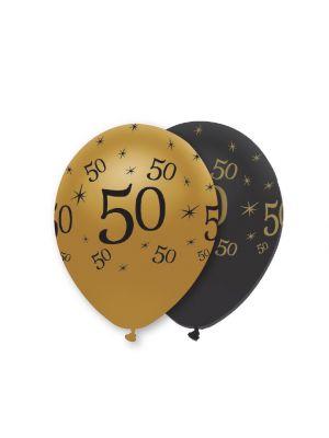 Mustat ja kultaiset ilmapallot numerolla 50.