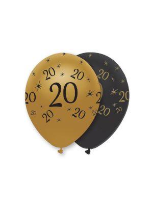 Mustat ja kultaiset ilmapallot numerolla 20.