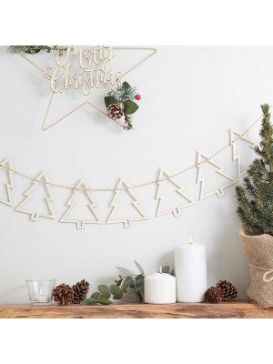 Joulukuusi banneri, puinen joulukoriste 1,5 m.