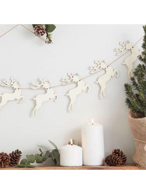 Puinen rustiikkinen ripustettava joulukoriste, puiset porot.
