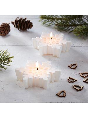 Rustiikkiset valkoiset lumihiutalen muotoiset kynttilät, 3 kpl.