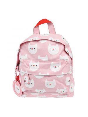 Suloinen pieni vaaleanpunainen reppu kissan kuvilla.