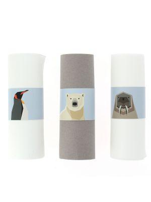 Lautasliinarenkaat, arktiset eläimet, 6 kpl. (jääkarhu, pingviinija mursu)