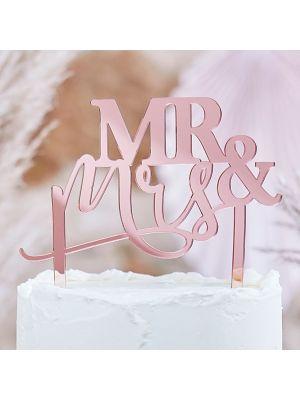 """Akryylinen ruusukultainen hääkakkukoriste """"Mr & Mrs""""."""