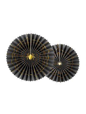 Mustat koristeviuhkat joilla on kullanväriset hämähäkinverkon kuviot, 2 kpl. Halloween.