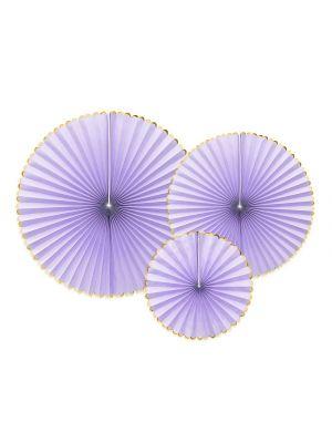 Paperiviuhkat Violetti 3 kpl - Candy Pastel