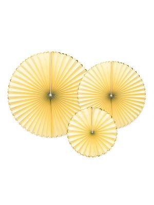 Paperiviuhkat keltaiset 3 kpl - Candy Pastel