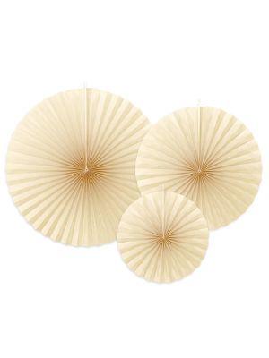 Kermanväriset paperiviuhkat, 3 kpl.