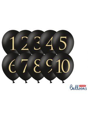 Mustat ilmapallo-pöytänumerot, 1-10