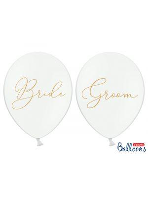 Valkoiset ilmapallot kullanvärisellä tekstillä Bride ja Groom, ilmapallot häihin