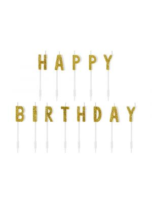 Kakkukynttilät -Happy Birthday- kultaglitter.
