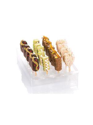 Silikomart Espogel Up Mini on polystyreenistä valmistettu näyttöalusta minijäätelöille ja cakepopseille.