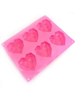 Silikonivuoka silikonimuotti - Timanttisydän, 6 Geometriset Sydämet