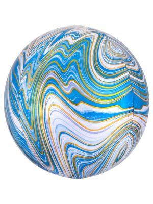 Sininen pyöreä marmori foliopallo.