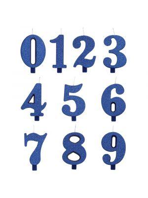 Sininen numerokakkukynttilä glitterillä, 7 cm.