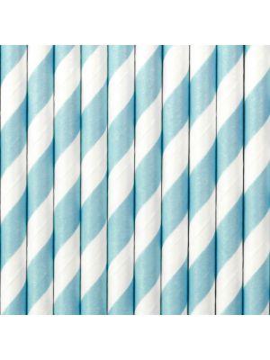 Raidalliset siniset paperipillit. Pakkaus sisältää 10 kpl pilliä joiden pituus on noin 19,5 cm.