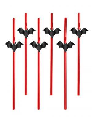 Halloween teemaiset punaiset muovipillit lepakko-koristeella, 6 kpl.
