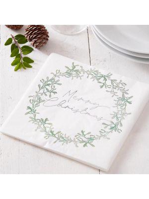 Jouluservetit, Merry Christmas, Misteli, 16kpl. Joulu lautasliinat.
