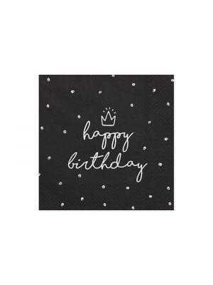 Mustat servetit, lautasliinat valkoisilla pilkuilla, tekstillä Happy Birthday.