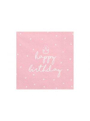 Vaaleanpunaisetkolmikerroksiset lautasliinat valkoisilla pilkuilla, tekstillä Happy Birthday.