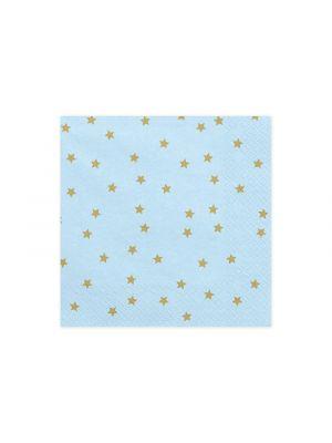 Vaaleansiniset lautasliinat kultaisilla tähdillä